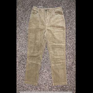 Khaki, mom-fitted, corduroy pants